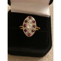 Ruby and diamond antique ring 18ct