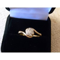 Edwardian diamond daisy ring 18ct and platinum