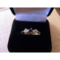 Edwardian diamond and sapphire ring platinum and 18ct gold