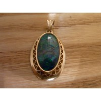 Edwardian  black opal triplet pendant 18ct gold