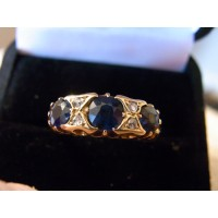 Victorian sapphire and diamond ring solid 18ct gold